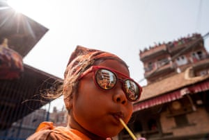 A young girl keeps cool in the heat