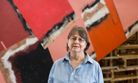 Phyllida Barlow photographed with her work Dock at Tate Britain, London