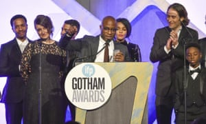 Barry Jenkins picks up the audience award for Moonlight at the Gothams.
