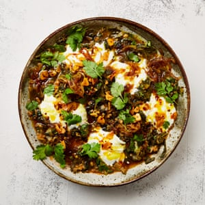 Yotam Ottolenghi's tamarind greens and mung beans with turmeric oil.