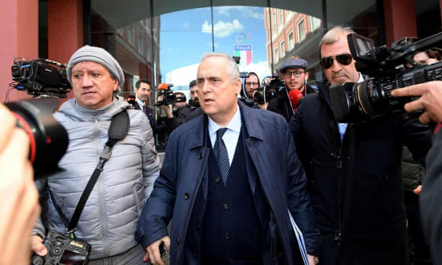 The Lazio president, Claudio Lotito, leaves an emergency FIGC meeting in Rome.
