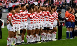 Japan's players line up before the Test match against New Zealand. The 2019 World Cup hosts are being paid just 2,000 yen per player, per day.