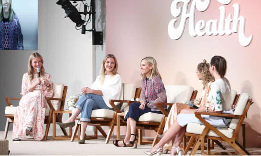Gwyneth Paltrow with (from left) Cameron Diaz, Tory Burch, Nicole Richie and Miranda Kerr at In Goop Health.