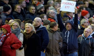 Liverpool supporters vote with their feet by leaving Anfield early.