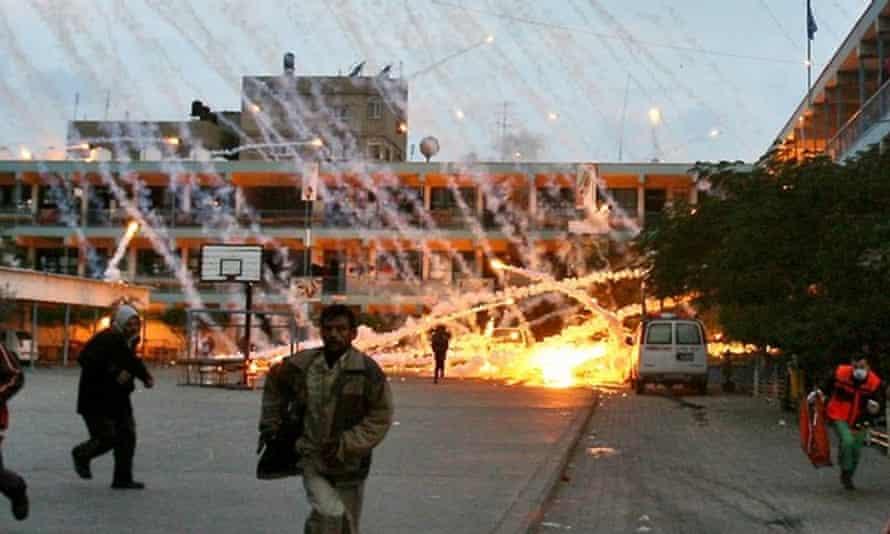 An Israeli strike near a UN school in Beit Lahia, January 2009.