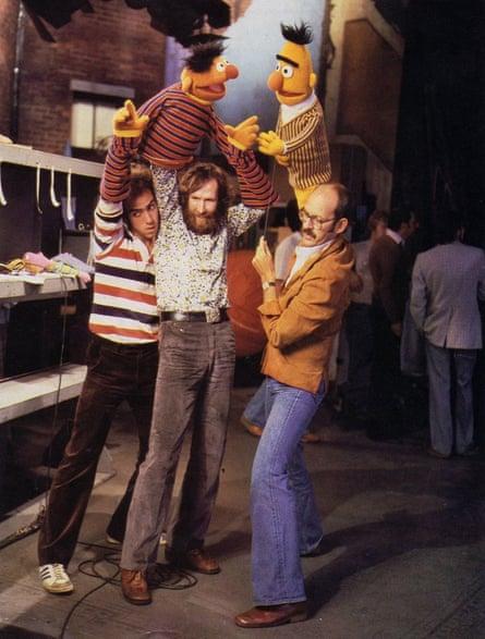 Richard Hunt (left), Jim Henson (center) and Frank Oz (right) performing Ernie and Bert, on the set of Sesame Street, 1970s.