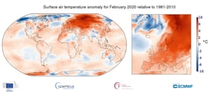 Surface air temperature anomaly for February 2020 relative to the February average for the period 1981-2010. Data source: ERA5