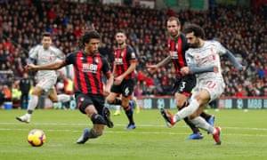 Mohamed Salah scores his side's second goal against Bournemouth.