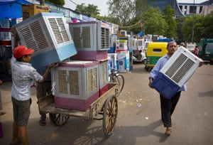 Air coolers for sale at a wholesale market in Delhi