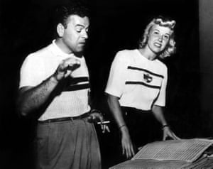 Les Brown and Doris Day rehearsing Sentimental Journey in 1945