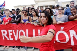 Cuban student Lisandra Esquivel shows her arm which has written I am Fidel (Yo soy Fidel),
