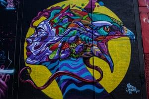 Graffiti cheers up a dark wall
