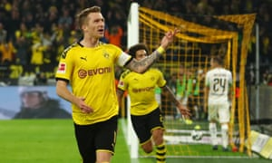Marco Reus, of Borussia Dortmund, was on target against Borussia Moenchengladbach.