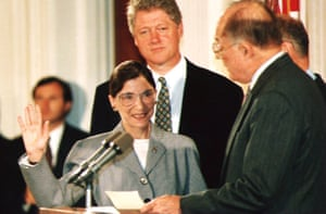 Ruth Bader Ginsburg takes the oath of office to the US supreme court, in 1993 as President Bill Clinton looks on.