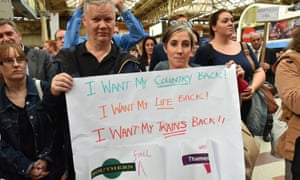 Southern rail passengers protest at Victoria station, London, July 2016