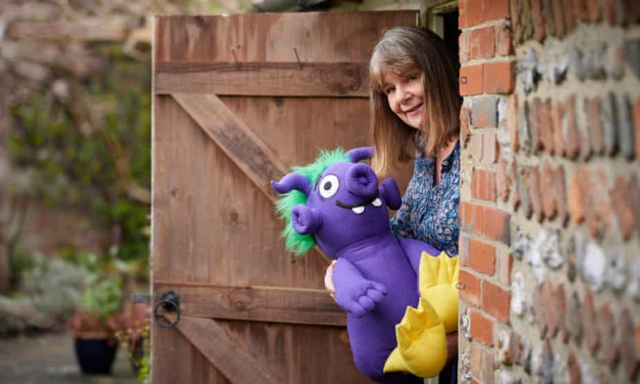 Julia Donaldson at home with a character from The Smeds & the Smoos.