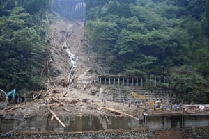 Shiiba, Japan Police conduct search and rescue operations at the site of a landslide in the village of Shiiba in Miyazaki prefecture after Typhoon Haishen passed the southern Japanese island of Kyushu