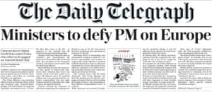 The Daily Telegraph front page headline.