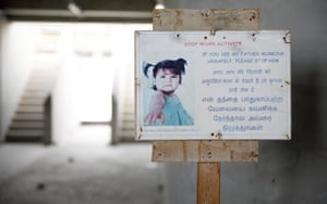 A warning sign to migrant workers at the al-Rayyan stadium construction site.