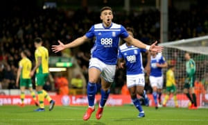 Che Adams celebrates for Birmingham City at Norwich in January 2019