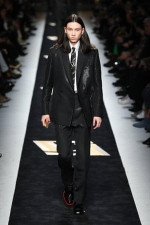 A suit at the Fendi show during Milan menswear fashion week.