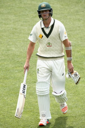 A fading memory: Joe Mennie walks off after being dismissed during day four of the second Test match between Australia and South Africa in Hobart