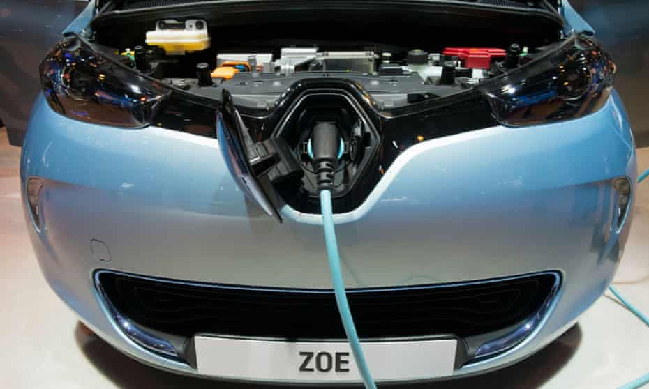 Detail of Renault Zoe electric car with plug-in charging cable