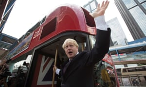 Boris Johnson waves from a London Routemaster bus in 2013
