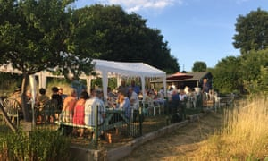 Allotment association social evening, Watford. It was a hot summer evening and everyone brought delicious things made from the stuff they had grown.'