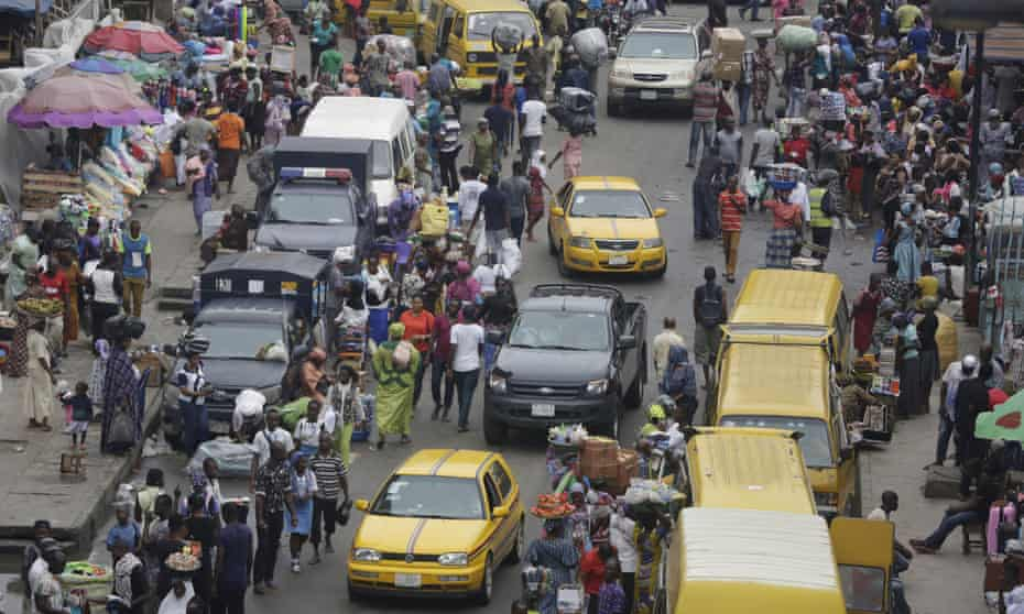 A market in Lagos, Nigeria, one of the world's largest and fastest-growing cities.