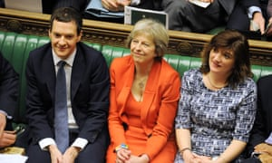 Theresa May flanked by George Osborne and Nicky Morgan