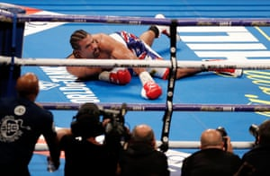 David Haye on the floor during his fight against Tony Bellew at the O2 Arena, Greenwich in May 2018