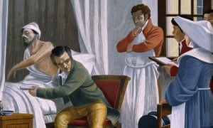 Bright Gouache painting: to the left a patient in a curtained bed has his robe pulled away exposing his torso; Laennec, sitting on a chair, has his ear to the patient's side, he is holding his stethoscope (a simple tube) in his left hand.  Other figures, including what looks like a nun, and a student taking notes stand to the right.