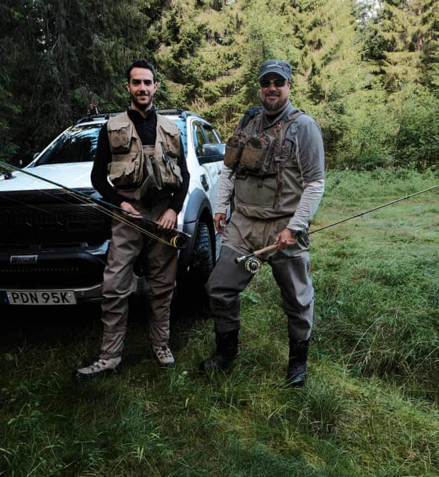 Sweden: Micke Nyberg, fishing guide, at right. With him is Giulio Marchesi, an architect from Milah, Italy who has been coming here to fish with Micke for five years.