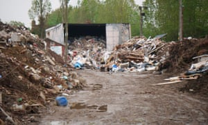 Illegal waste recycling site