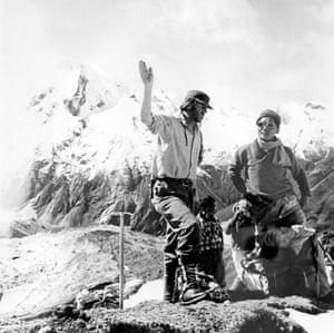 Edmund Hillary and Sherpa Tenzing Norgay on an expedition in 1960.