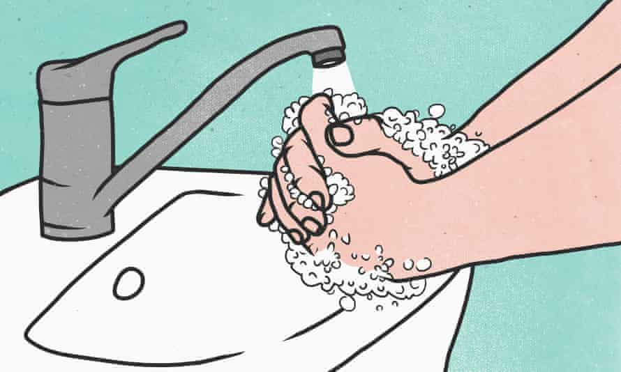 Cartoon drawing of washing hands with soap