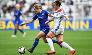 Lucy Bronze (right) challenges Chelsea's Fran Kirby during Lyon's 2-1 Champions League semi-final first leg victory.