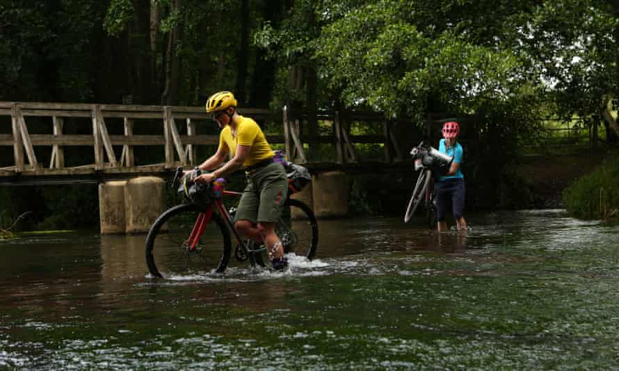 Crossing a ford on the King Alfred's Way route