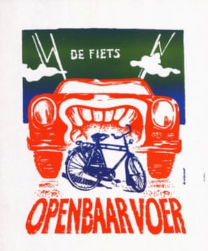 Poster showing the bicycle as 'public food' for cars