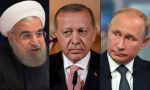 Iran's president, Hassan Rouhani, was due to meet Turkish president, Recep Tayyip Erdoğan, and Russian president, Vladimir Putin, in Tehran to discuss the future of Idlib.