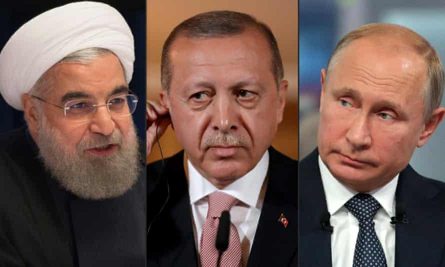 Iran's president, Hassan Rouhani, was due to meet Turkish president, Recep Tayyip Erdoğan, and Russian president, Vladimir Putin, in Tehran to discuss the future of Idlib.
