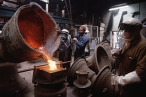 Workers at the Whitechapel Bell Foundry cast tower bells in 1997.