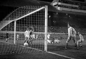 John Hughes scores against Leeds in 1970