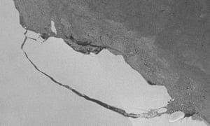 View of the A68 iceberg on the 30 July 2017, taken from a European Copernicus Sentinel-1 satellite image.