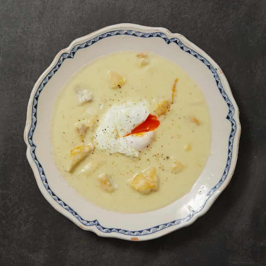 Tommy Heaney's potato and leek soup with smoked haddock.
