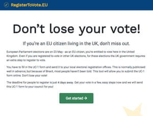 The Registertovote.eu site as it appeared on Friday