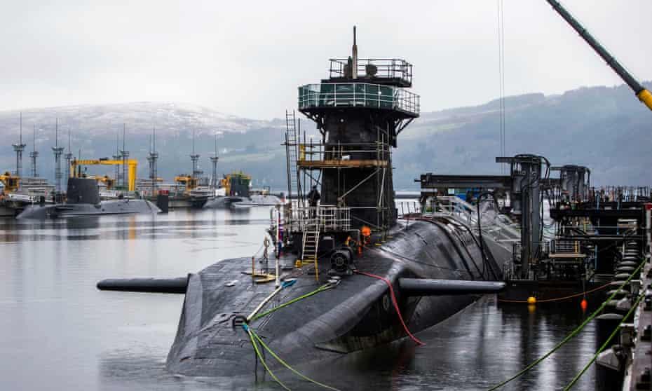 HMS Vigilant, a Vanguard-class nuclear submarine, docked at HMNB Clyde in Faslane, Scotland.