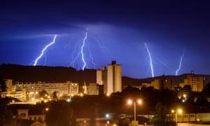 Salgótarján, Hungary Lightning strikes across the sky in Salgótarján. The city lies in the Tarján River valley near Hungary's border with Slovakia