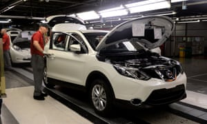 A Nissan employee works on the Qashqai, at the carmaker's Sunderland plant.